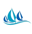 Stylized blue sailing boats upon the waves vector