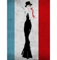 The girl in a black evening dress vector