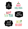 Merry christmas and happy new year label design vector