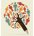 Man sign concept pencil tree vector