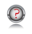 Metal button with red question sign vector