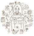 Baby feeding doodle vector