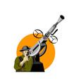World war two british soldier machine gun vector