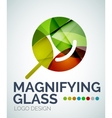 Magnifying glass ogo design made of color pieces vector