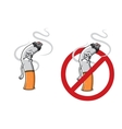 Cartoon sad cigarette butt character vector