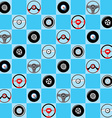 Automotive childish wallpaper with steering wheels vector