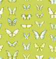 Green seamless background with butterflies vector