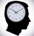Male head silhouette with watch instead of brains vector