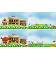 Houses and nature vector