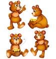 Four brown bears vector