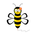 Cute bee in black and yellow color vector