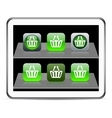 Shopping cart green app icons vector