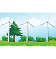 The three windmills above the hills vector