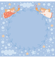 Wreath with two angels vector