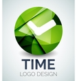 Time clock logo design made of color pieces vector