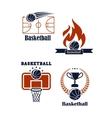 Basketball sport emblems or logos vector
