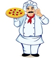 Happy chef and pizza vector