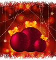 Christmas baubles with bow background vector
