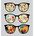 Retro sunglasses with bright reflection in it vector