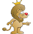 Cartoon lion with a crown vector