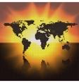 World map black dots vector