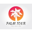 Abstract travel palm logo template for vector