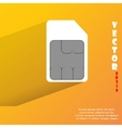 Sim card flat modern web button with long shadow vector