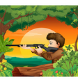 A man with a gun at the woods vector