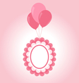 Lace pink baby frame on air balls vector