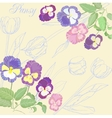 Background with pansies and tulips vector