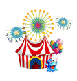 A circus tent with a monster in the front vector