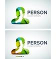 Person logo design made of color pieces vector