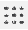 Icons set of different black crowns shapessigns vector