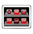 Zip red app icons vector
