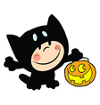 Child dressed in cat suit and pumpkin in hand vector