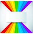 Abstract rainbow stripes with paper label vector