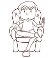 A plain sketch of a lazy man holding a remote vector