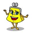 Yellow cartoon purse vector