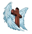 Angel wings with wooden cross vector