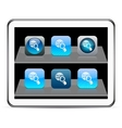 Global search blue app icons vector