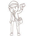 A simple drawing of a postman vector