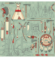 Seamless native american pattern with forest vector