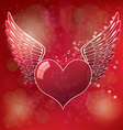 Red heart wings vector