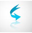 Blue abstract 3d arrow icon vector