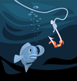 Fish gazing at a hook with a worm vector