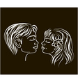 First kiss in white on black colours vector