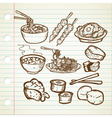 Asian food doodle vector
