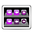 Back arrow purple app icons vector