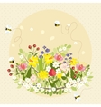 Vintage spring flowers bee nature garden vector