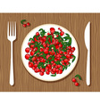 Cherries on plate vector